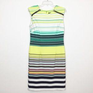 Karin Stevens Zip Shoulder Stripe Sleeveless Dress